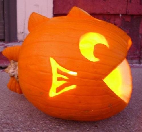 Pretty fish pumpkin carving idea.