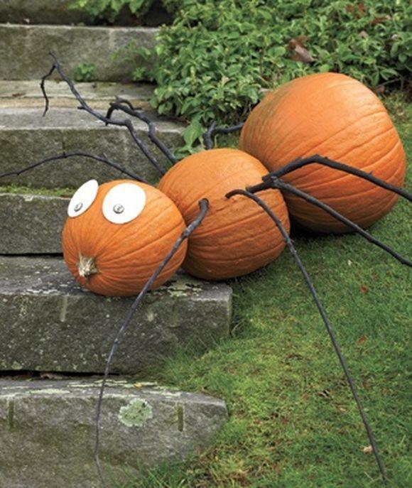 Pumpkin as spider for Halloween decor.