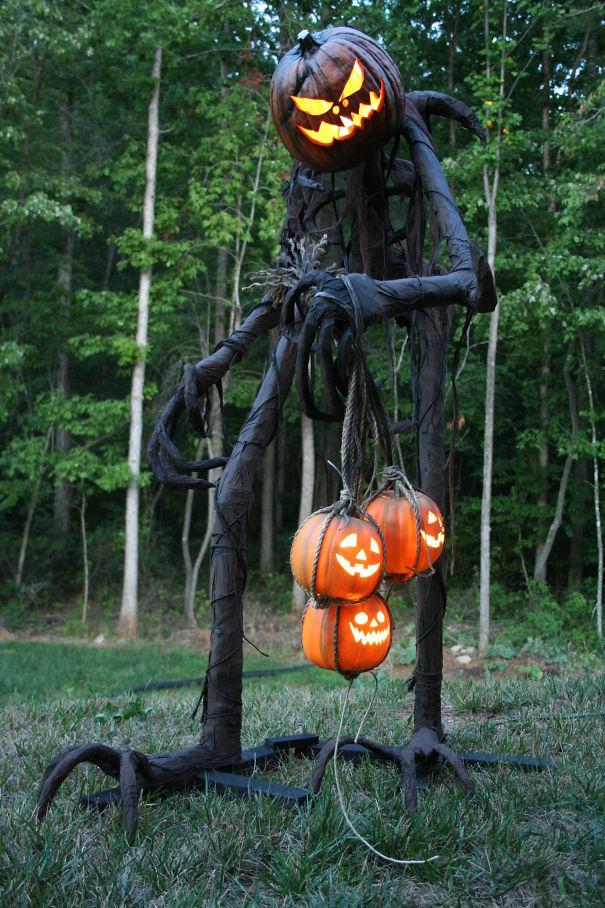 Pumpkin monsters in the yard.