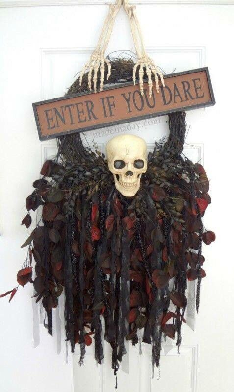 Red and black skeleton wreath.