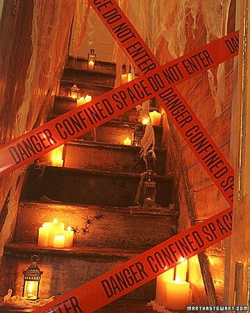 Restricted Stairs decorated with candles and lamp.
