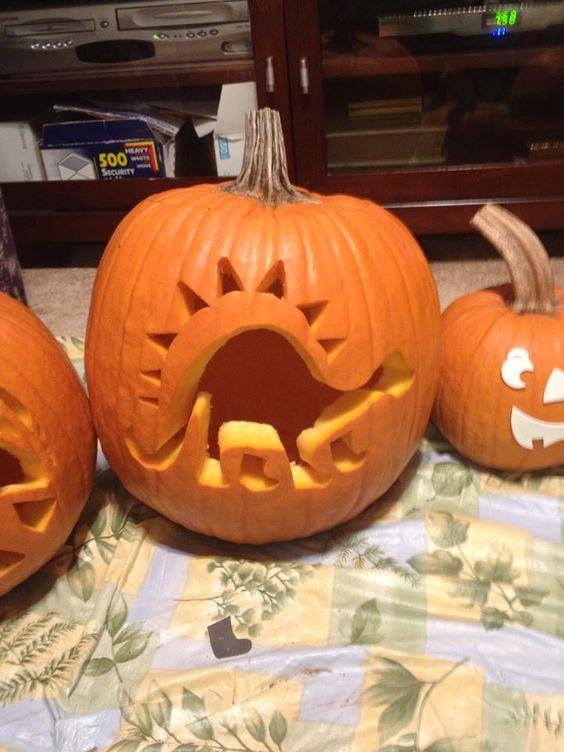 Rocking Dinosaur pumpkin carving idea.