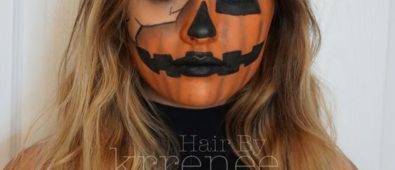Rocking Pumpkin jack o lantern Halloween makeup.
