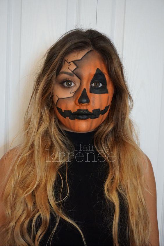 Rocking Pumpkin jack o lantern Halloween makeup.