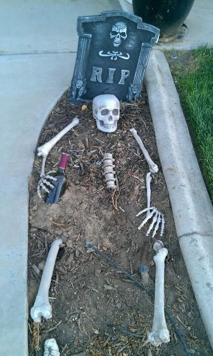 Scary outdoor decor of Halloween party.