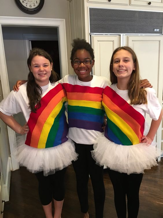 Simple rainbow group costume.