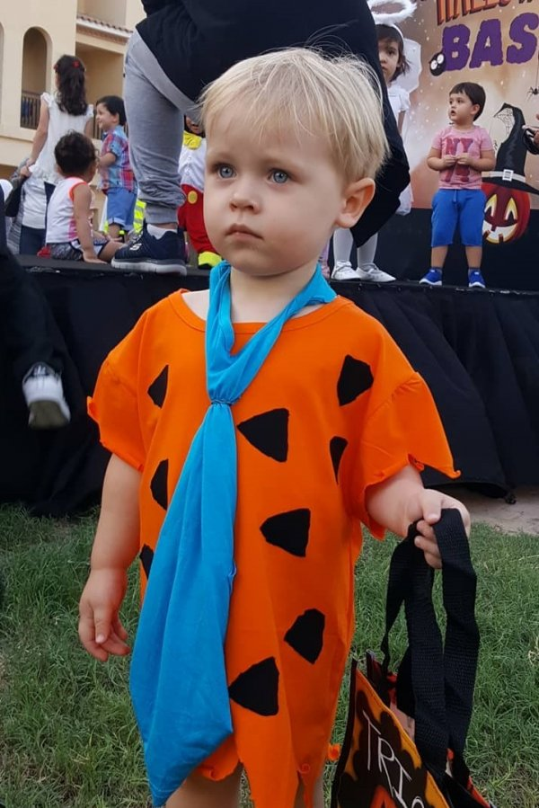 Simple trick or treat Halloween toddler costume.