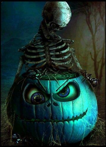 Skeleton on scary pumpkin.