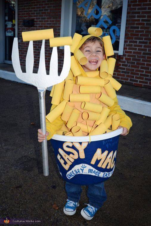 Smartly used toilet paper tubes and laundry basket for Mac & cheese costume.