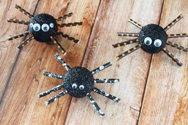 Spider made by Styrofoam balls, googly eyes and straws.