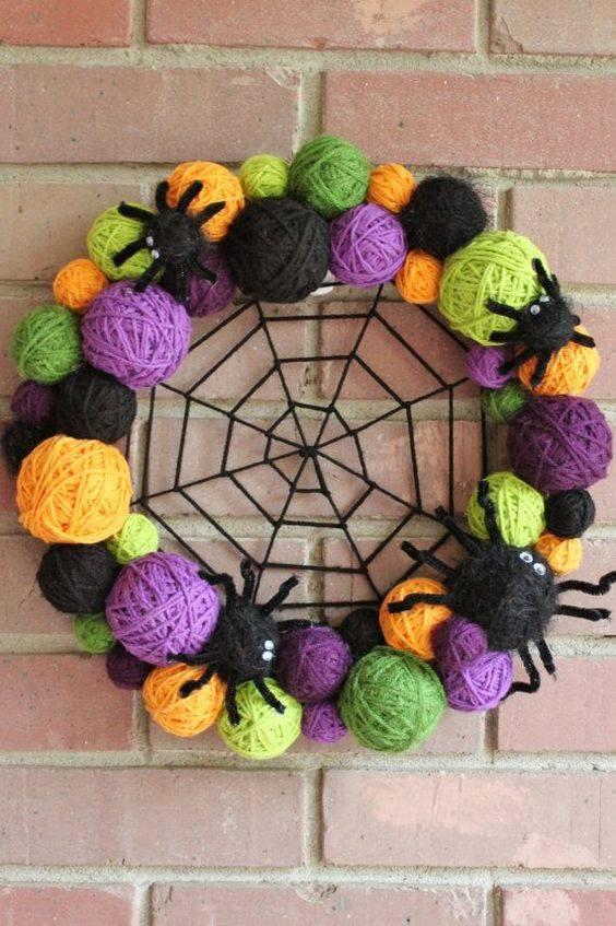 Spider web yarn Halloween wreath.