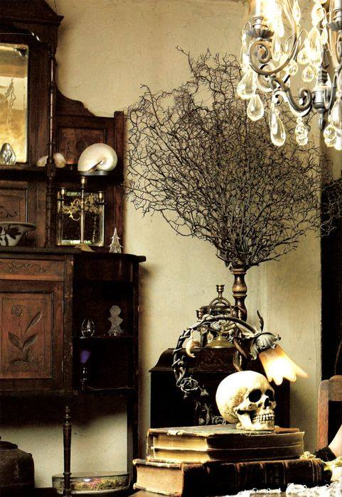 Spooky Halloween indoor decor.