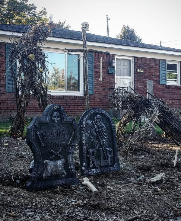 Sticks and braches from our backyard to create a spooky masterpiece.