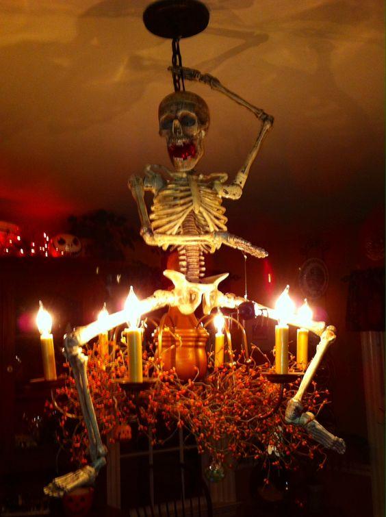 Terrifying skeleton chandelier.