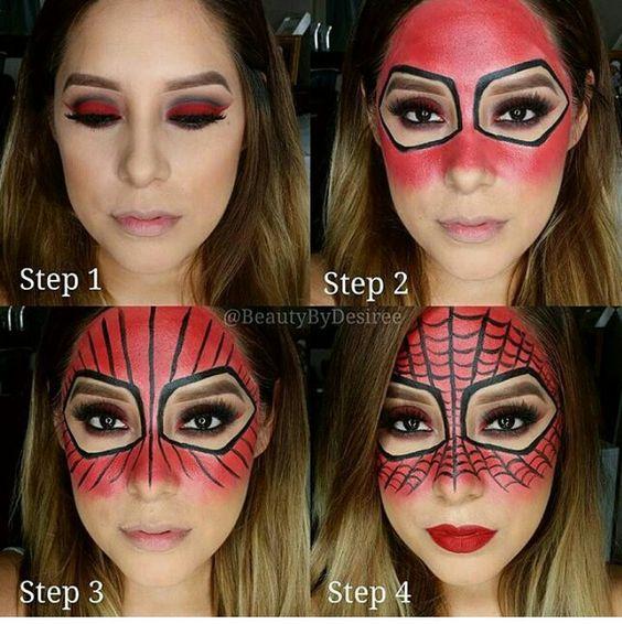 Tutorial of Spider women makeup for Halloween.
