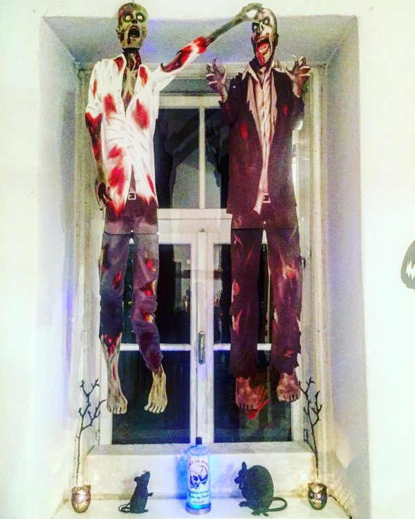 Two hanging zombies.