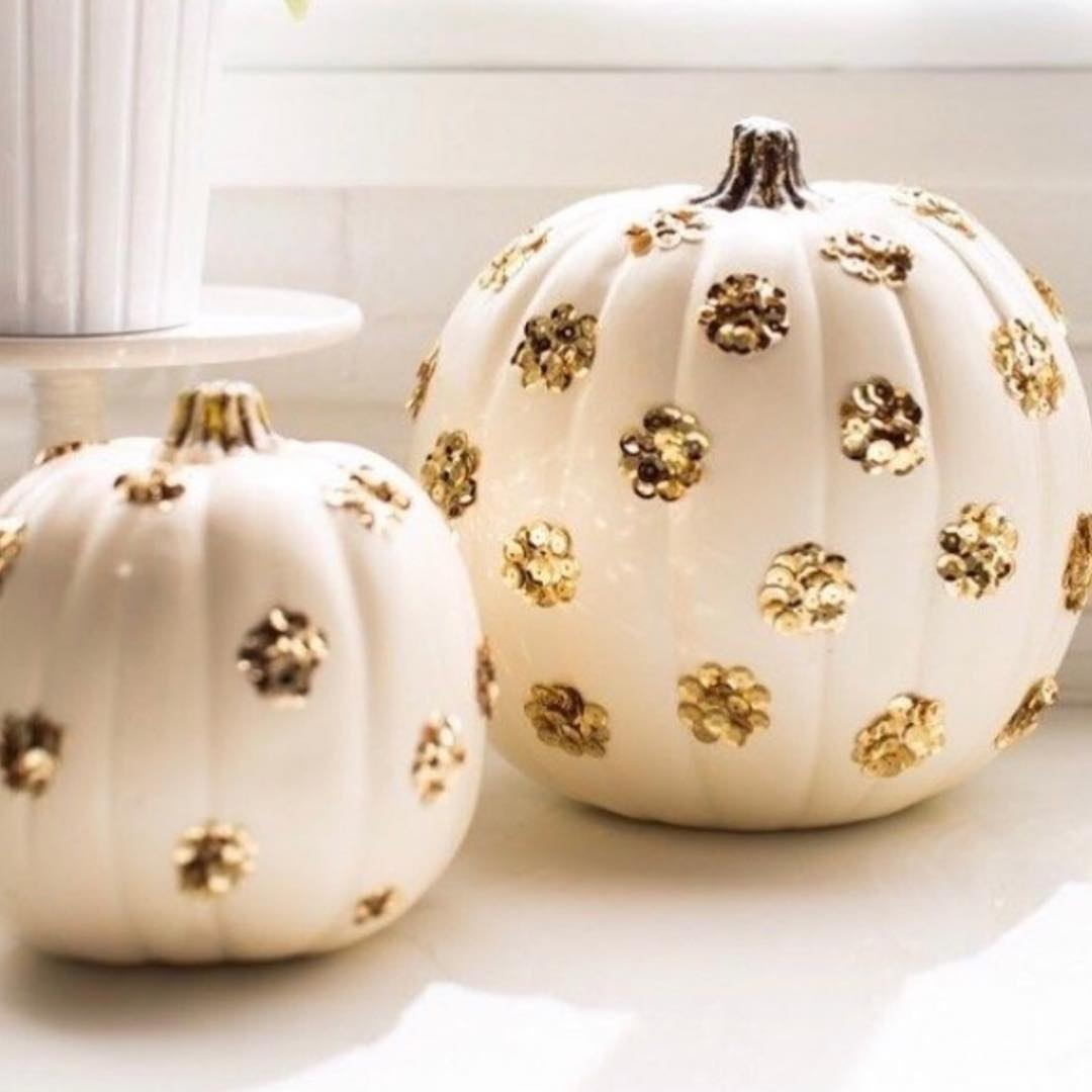 White pumpkin decorated with jewellery. Pic by shabanapremji