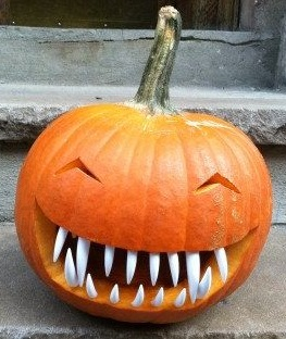 Wild pumpkin carving for Halloween party.