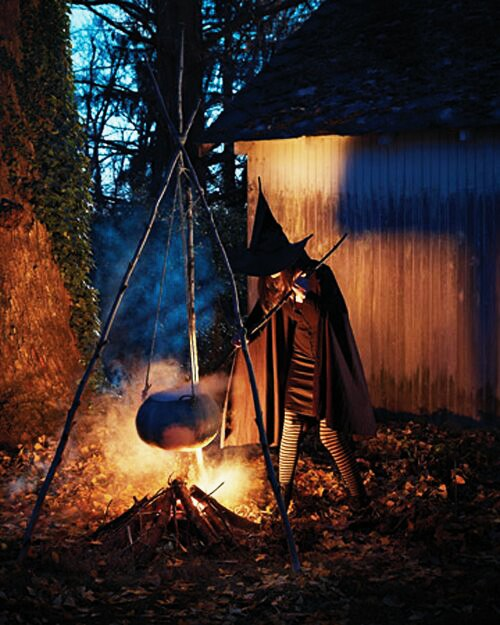 Witch is busy in making food for guests.