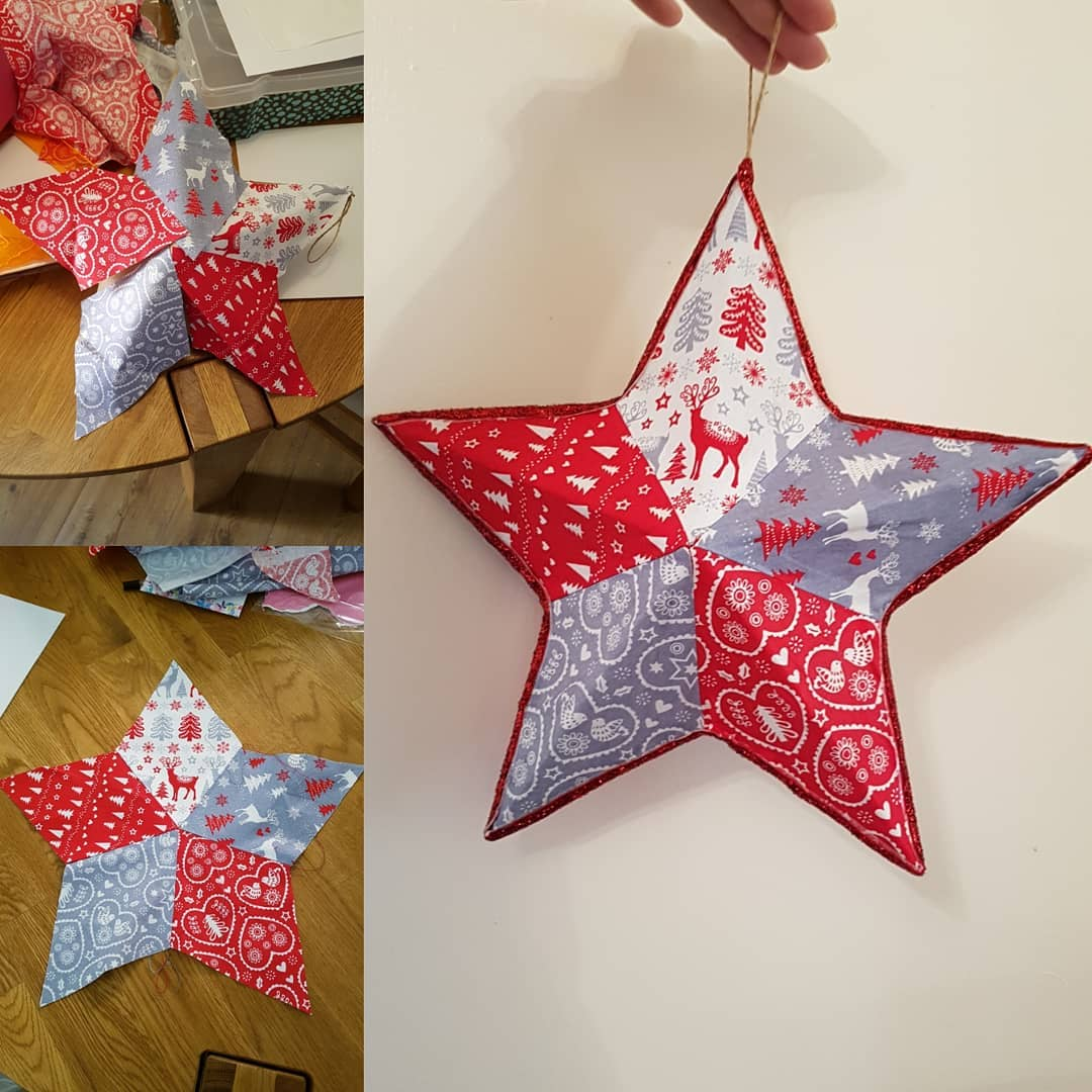 3D paper star tree ornament idea.