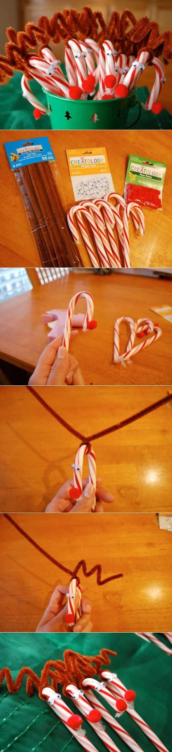 Adorable candy cane reindeer tutorial.