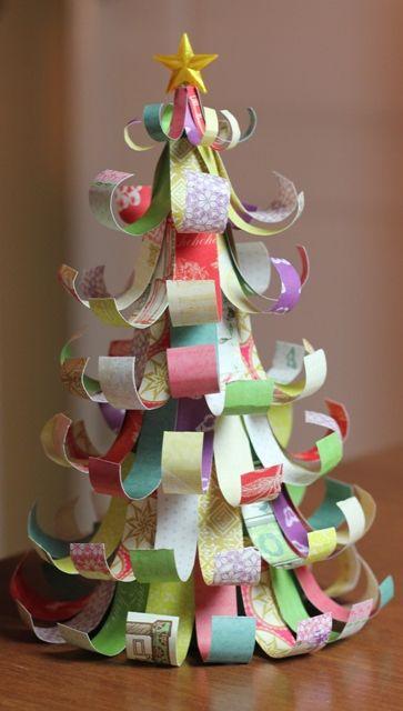 Adorable paper scrap Christmas tree.