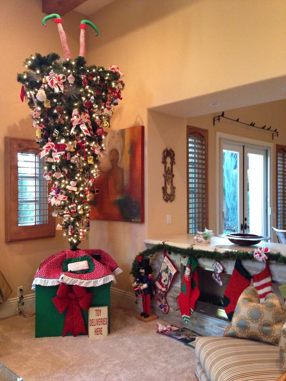 adorable way to decorate upside down christmas tree