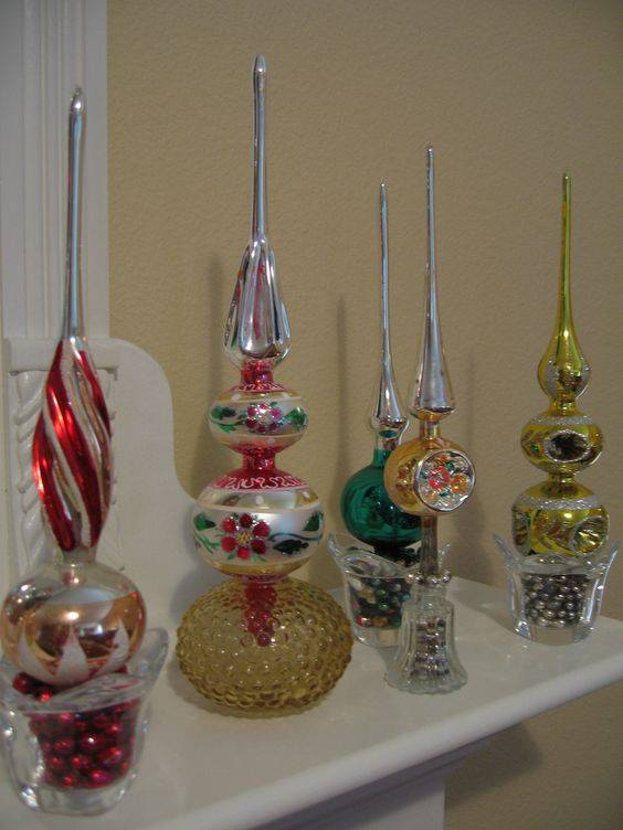 amazing vintage christmas tree toppers in multiple colors - Vintage Christmas Tree Toppers