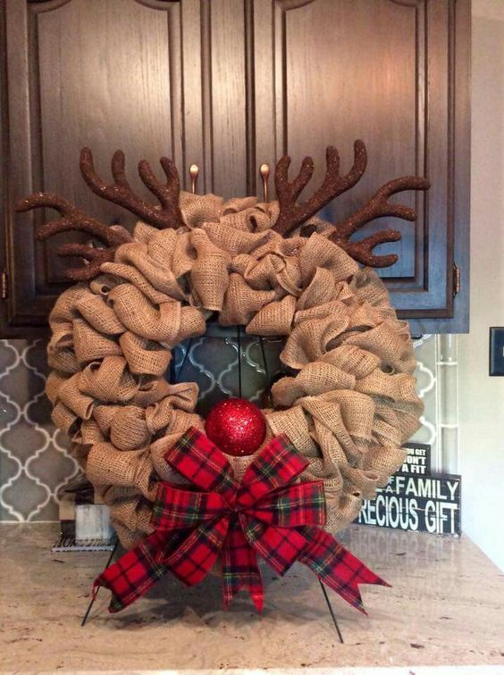 Awesome Reindeer Wreath made with burlap.