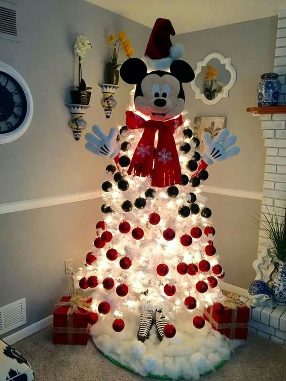 awesome white mickey mouse christmas tree with red and black balls