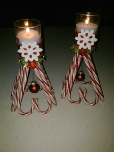 Beautiful candy cane candle holder.