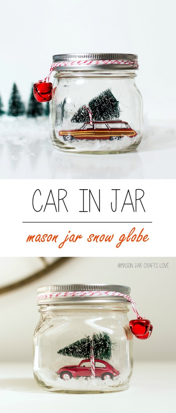 Beautiful idea to put car in jar and tie with jingle bell.