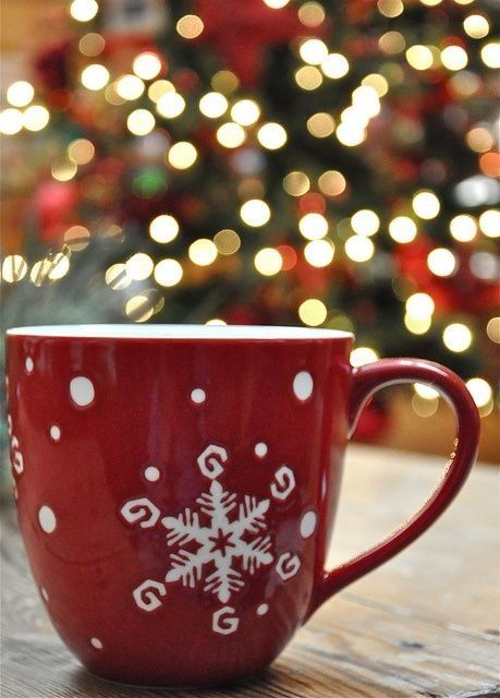 Beautiful red cup with white snowflake.