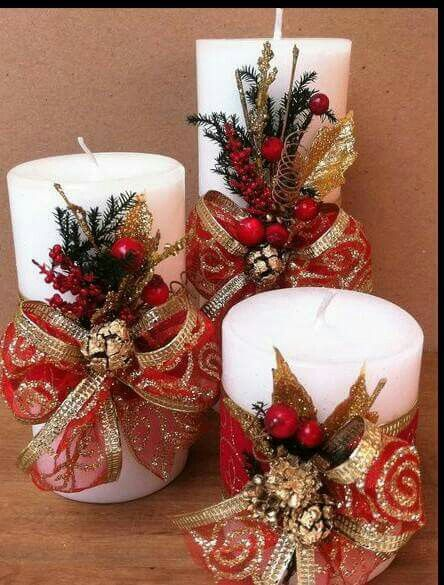 Beautifully decorated Christmas candle decor.
