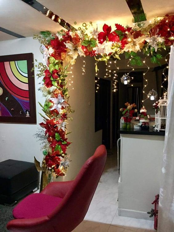 Beautifully decorated home for Christmas party.