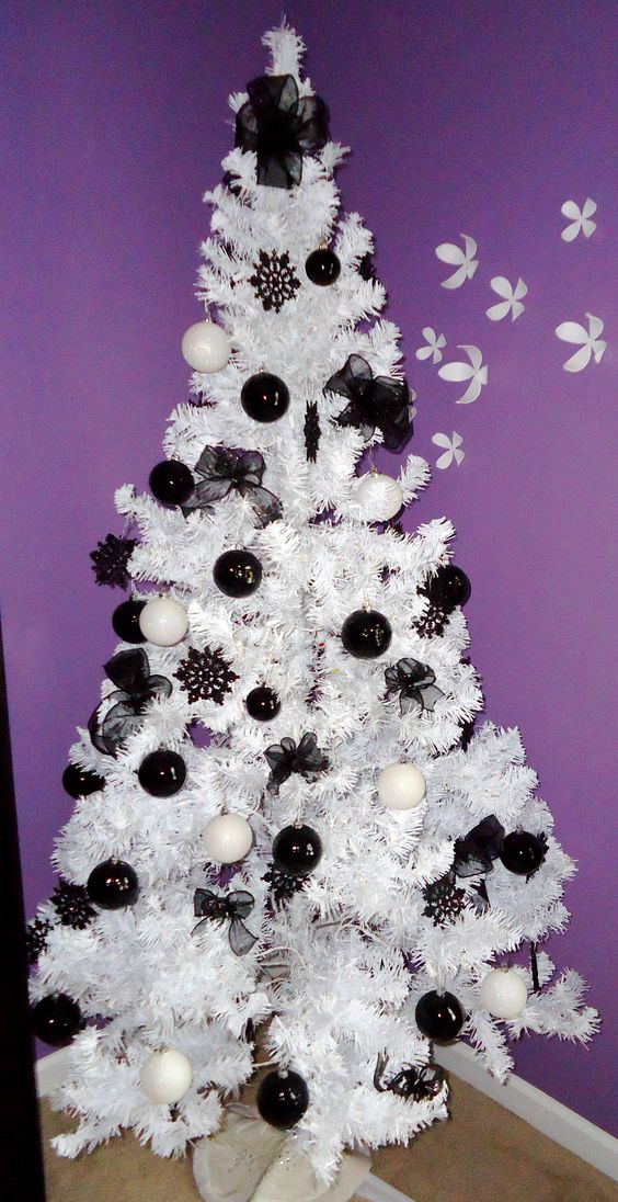 black and white balls hanging on white christmas tree - Black Christmas Tree With Purple Decorations