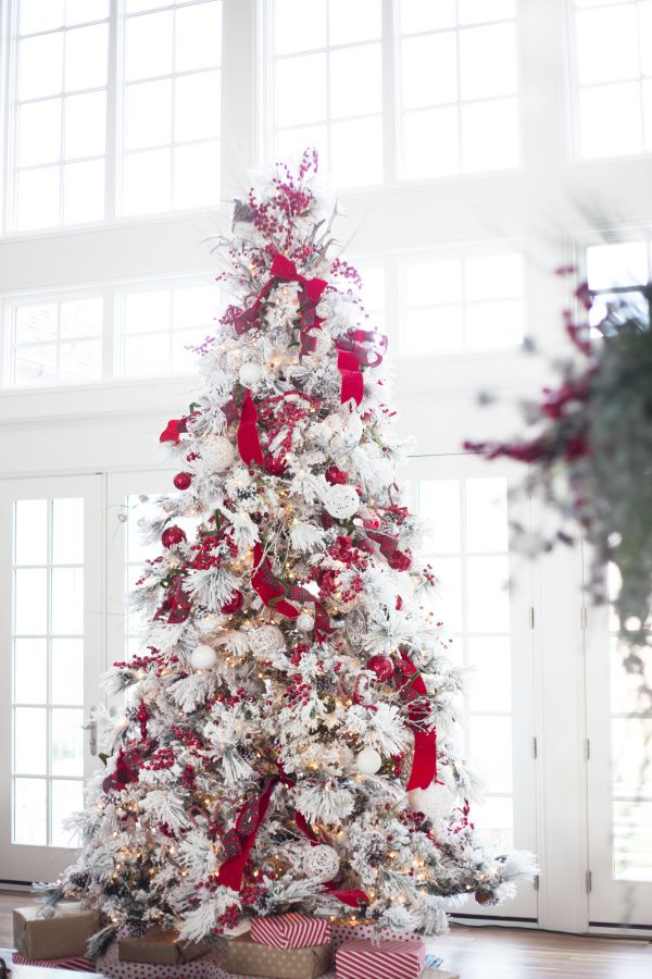 Bright frosted red Christmas tree.