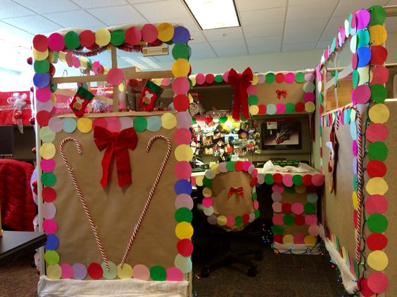 brilliantly decorated office cubicle as gingerbread on christmas eve