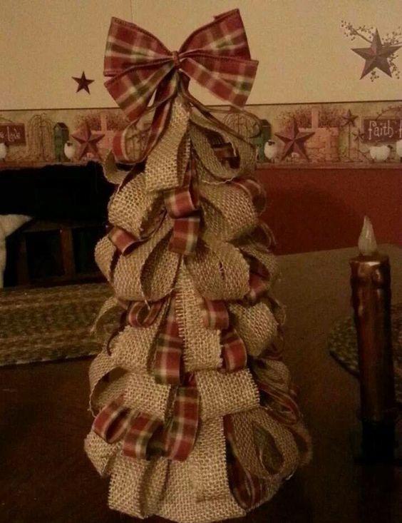 Burlap tree with plaid bow.