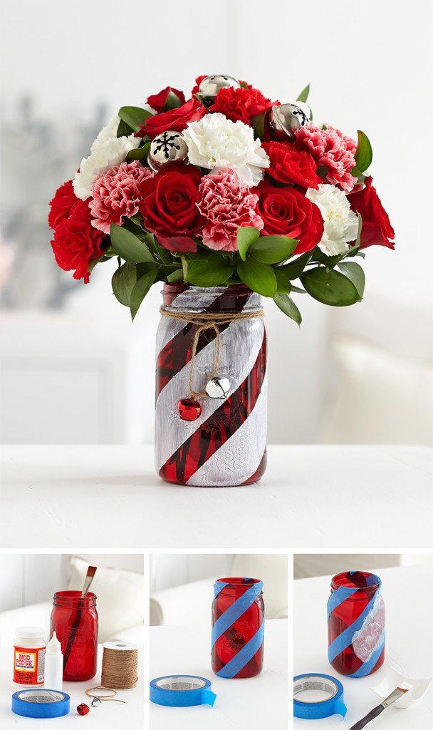 Candy cane mason jar flower vase.