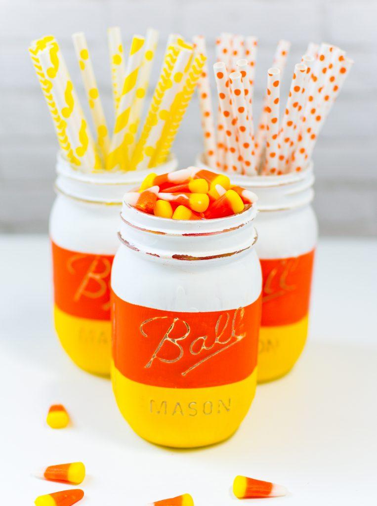 Candy corn masor jar.