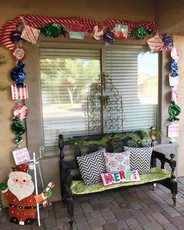 Candy garland decoration for front porch.