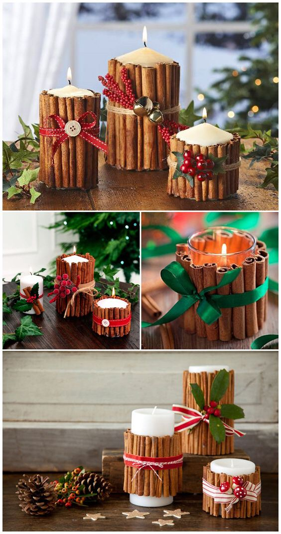 Charismatic cinnamon candles tie with red and green ribbon.