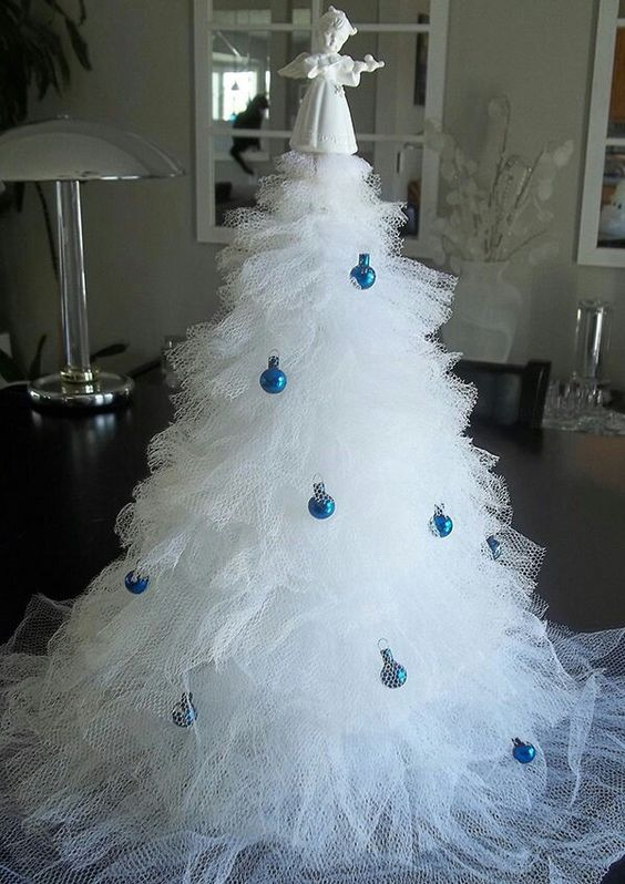 Charismatic white tulle Christmas tree with blue balls.