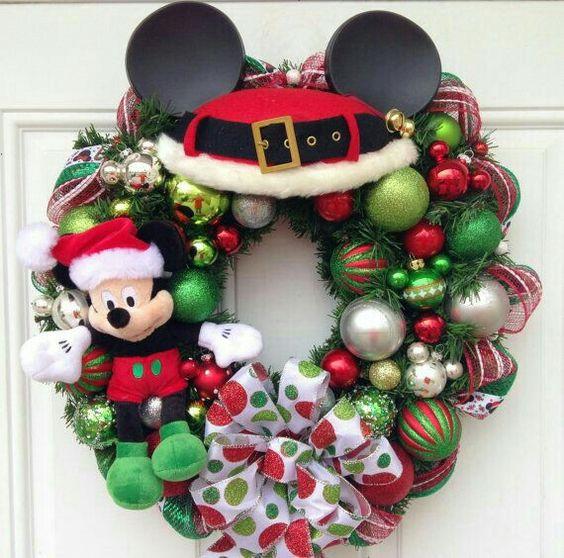 Charming mickey wreath for Christmas.