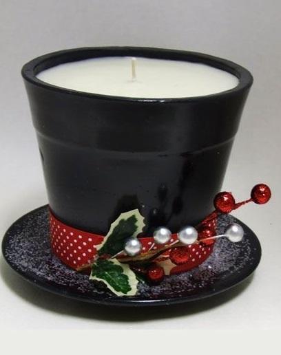 Chic handmade terra cotta pot candle holder.