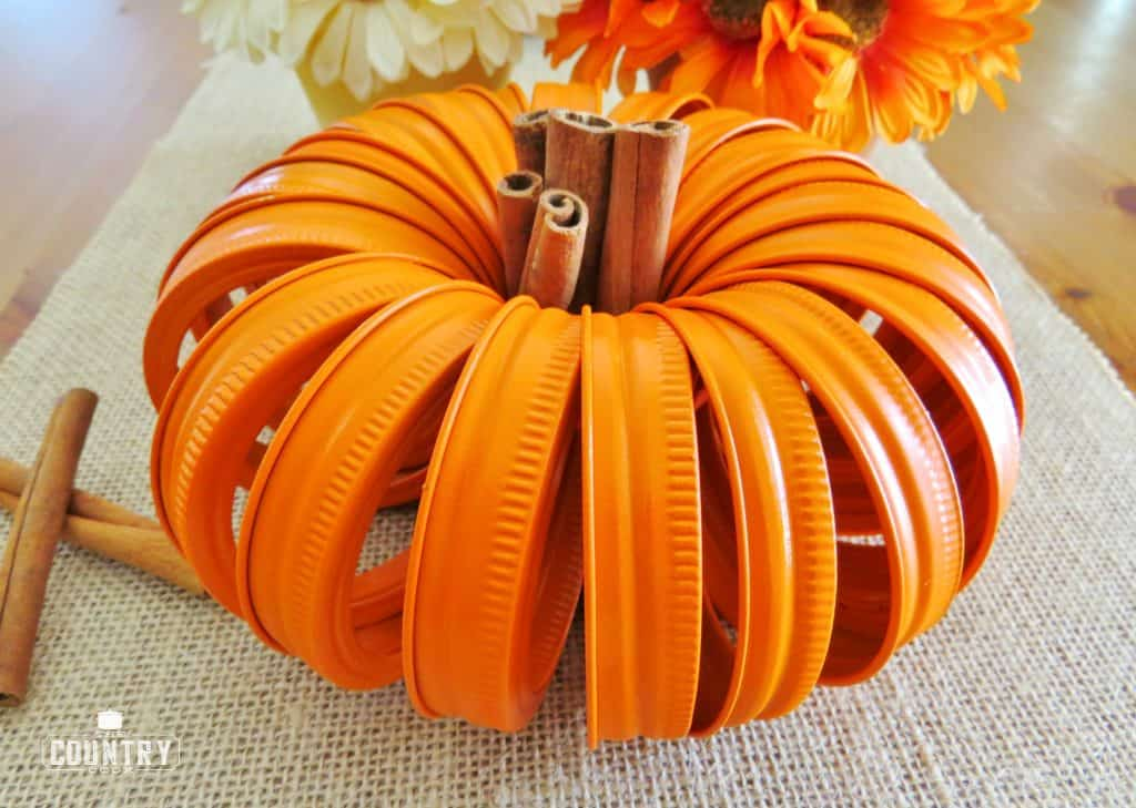 Chic mason jar lids pumpkin.