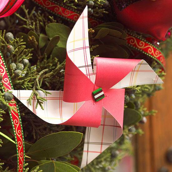 Chic paper pinwheel Christmas ornament.