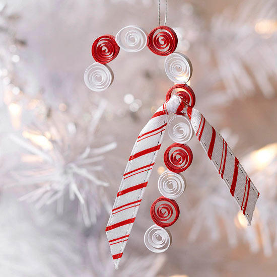 Chic quilled candycane Christmas ornament for kids.