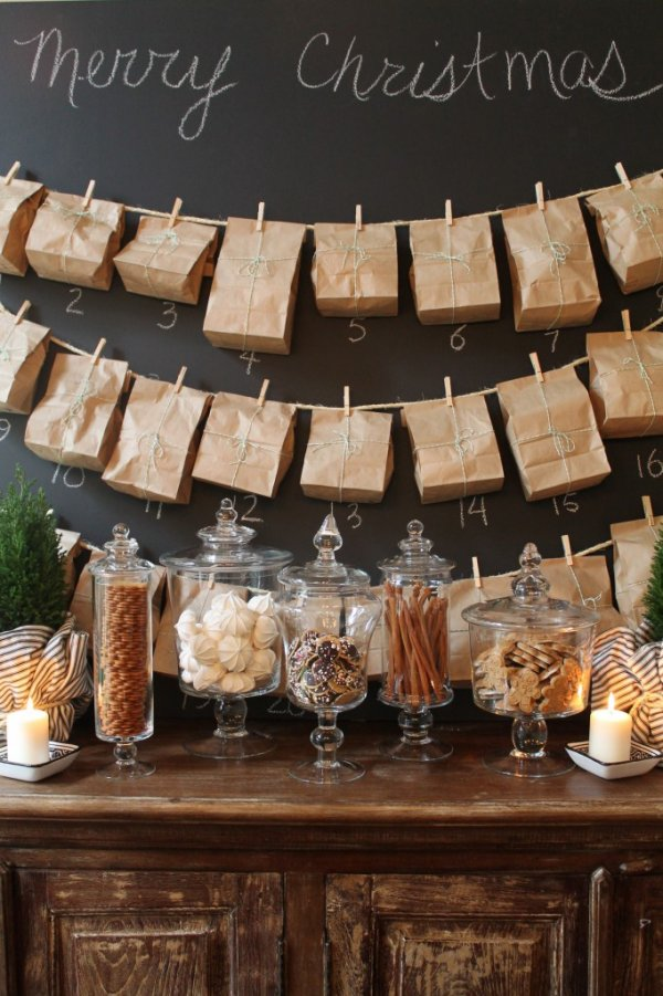 Chic way to use brown bag as advent calendar.